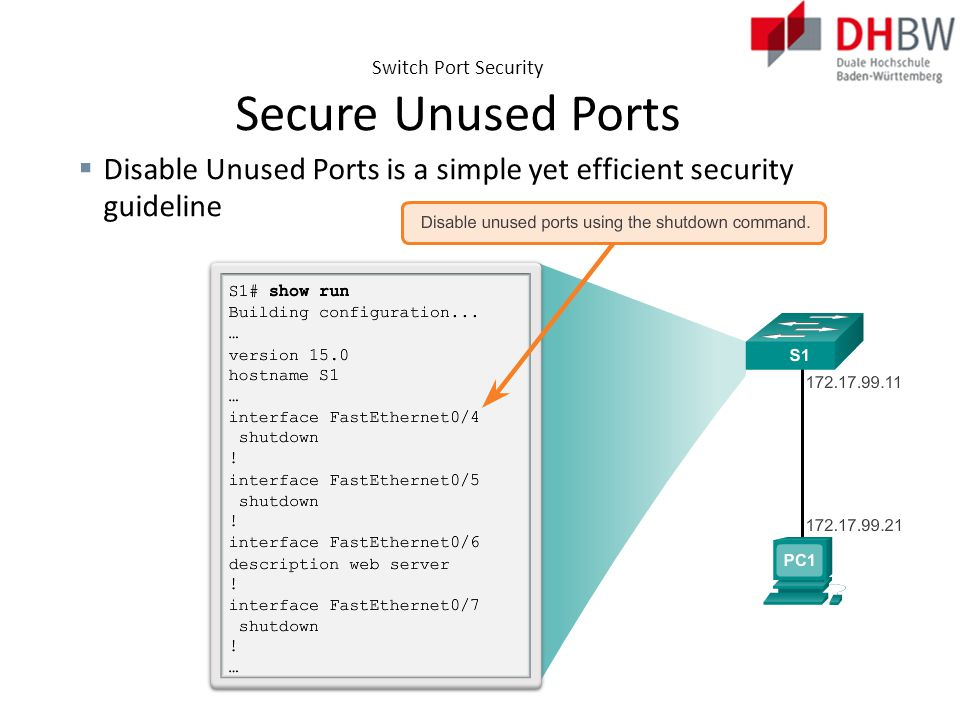 Switch Port Security Secure Unused Ports