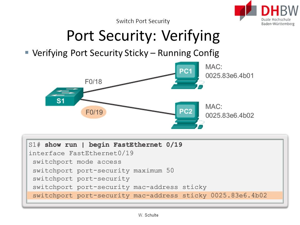 Switch Port Security Port Security: Verifying
