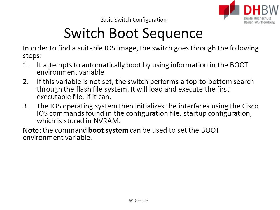 Basic Switch Configuration Switch Boot Sequence