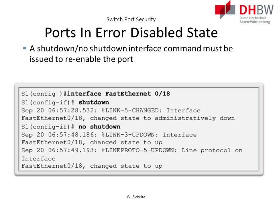 Switch Port Security Ports In Error Disabled State