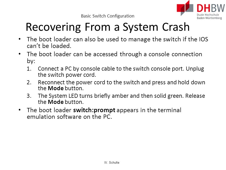 Basic Switch Configuration Recovering From a System Crash