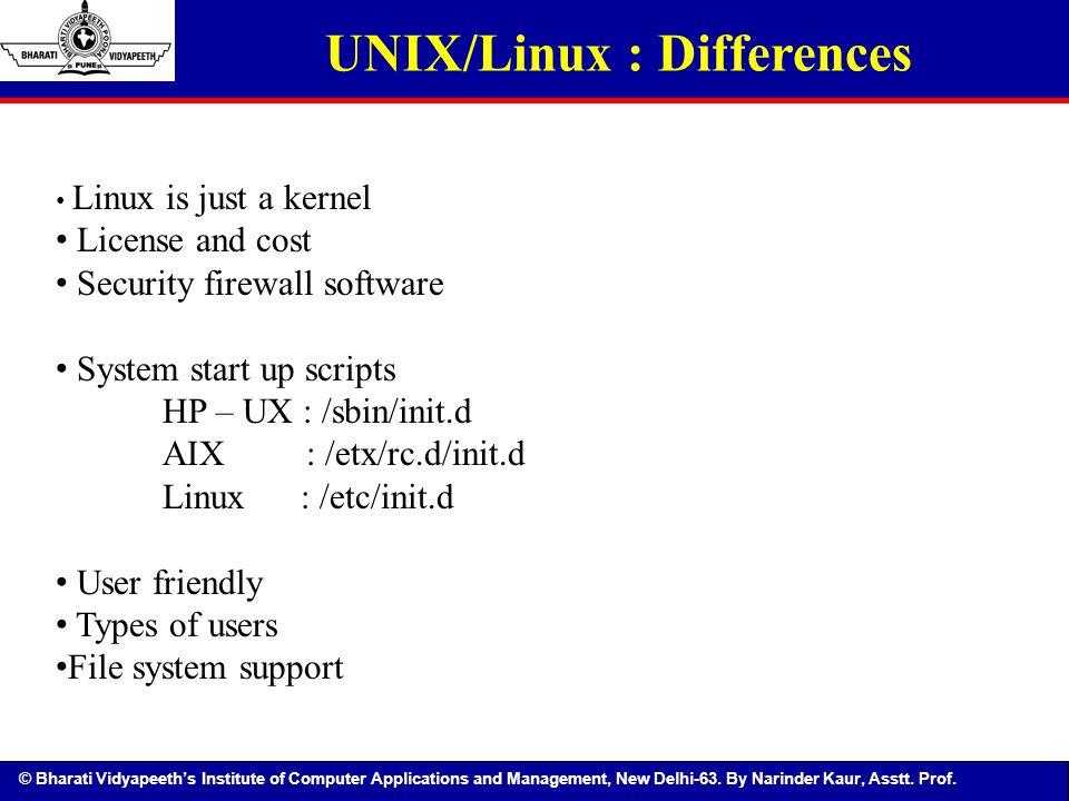 UNIX/Linux : Differences