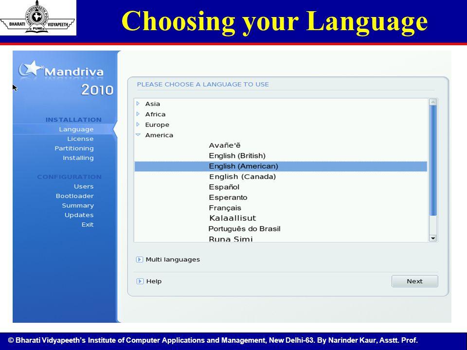 Choosing your Language