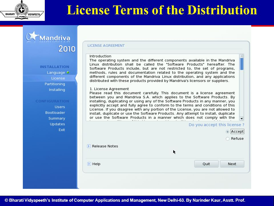 License Terms of the Distribution