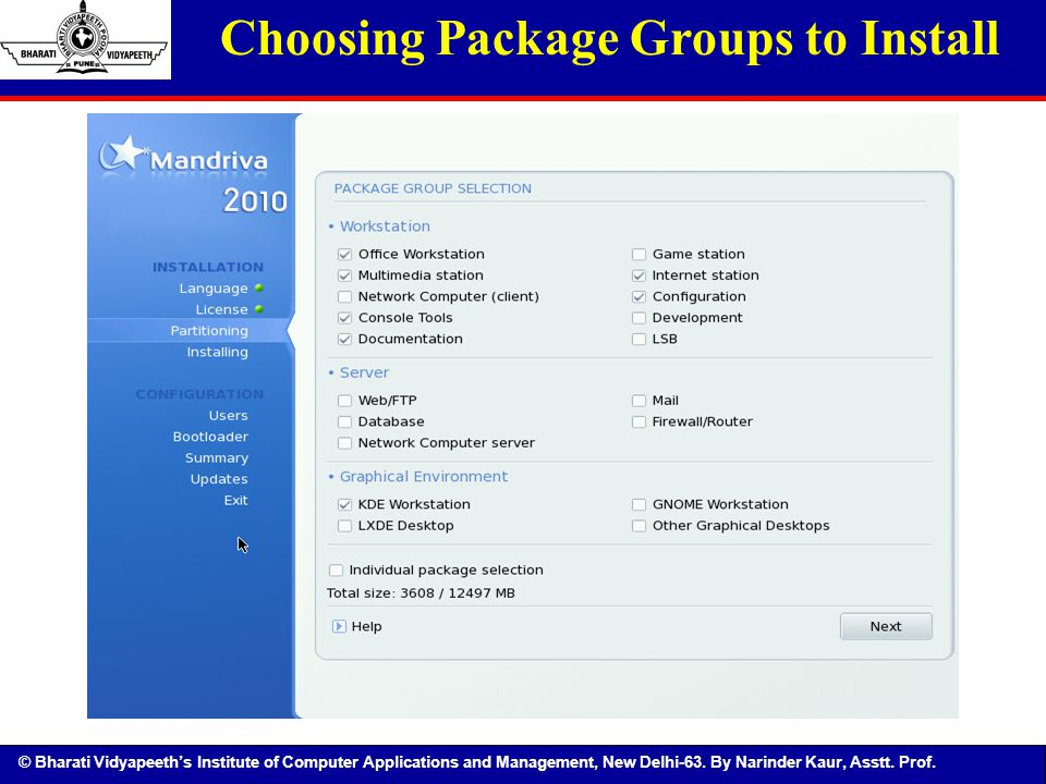 Choosing Package Groups to Install