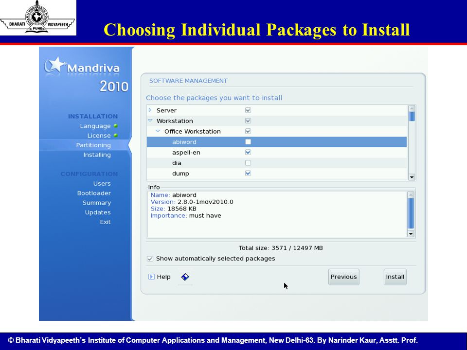 Choosing Individual Packages to Install