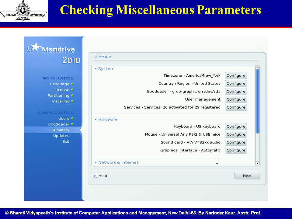 Checking Miscellaneous Parameters