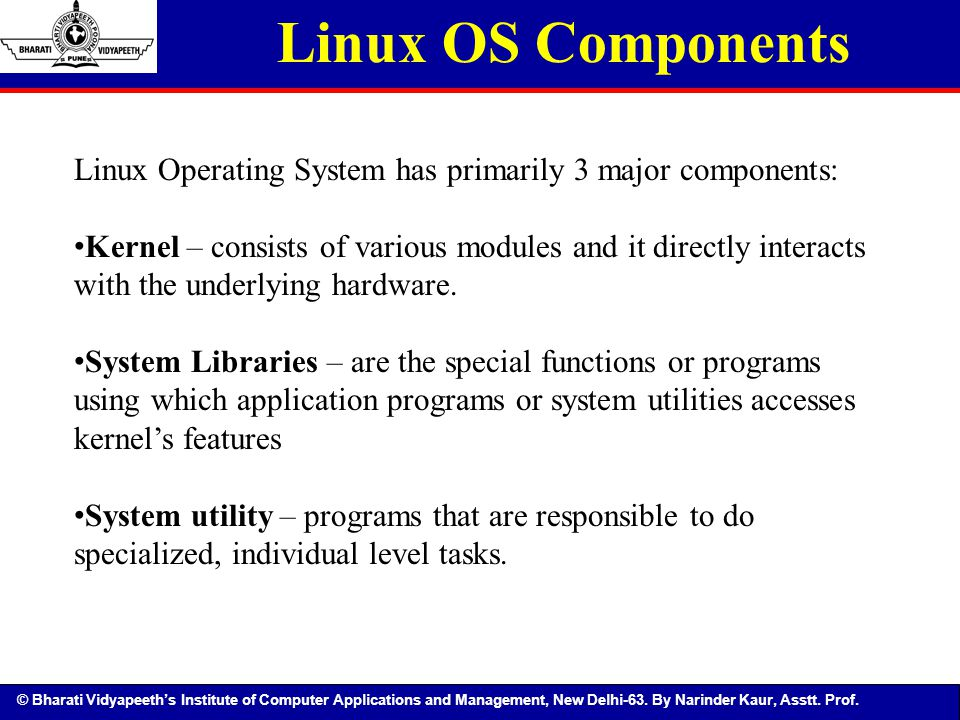 major components of operating system The software components of a computer system are the data and programs central processing unit (cpu) arithmetic and logic (alu) control the following points highlight five main components of a.