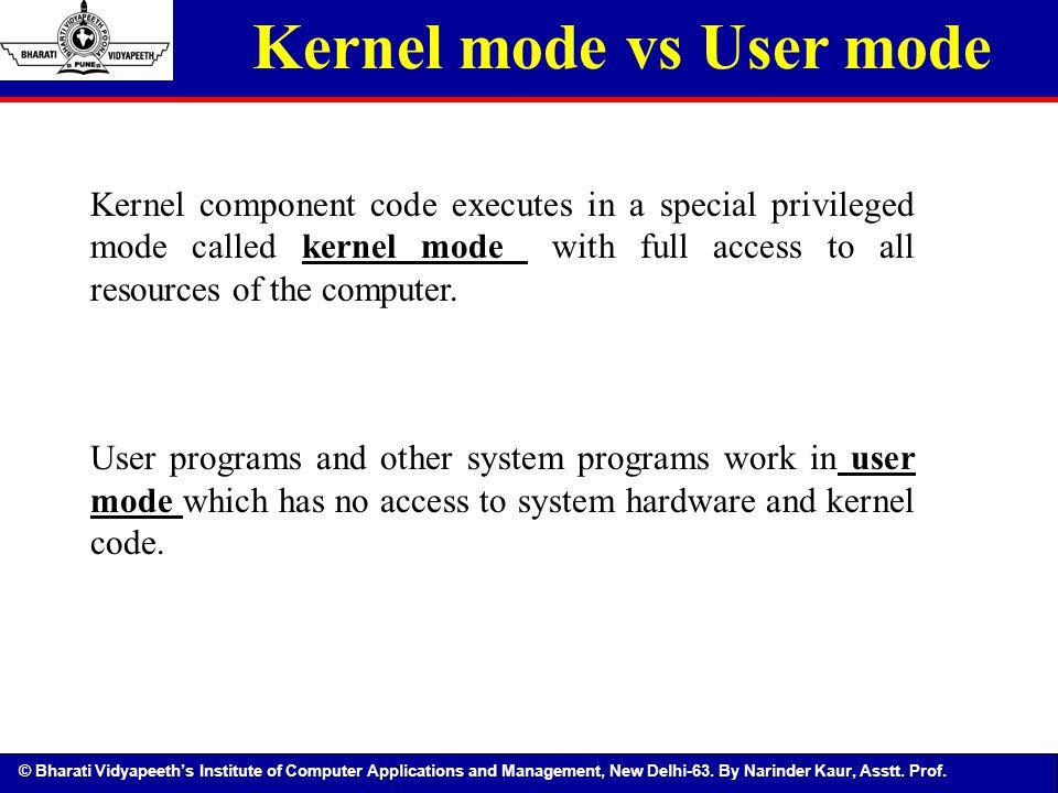 Kernel mode vs User mode