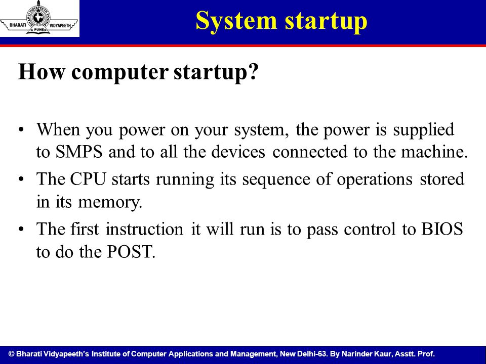 System startup How computer startup
