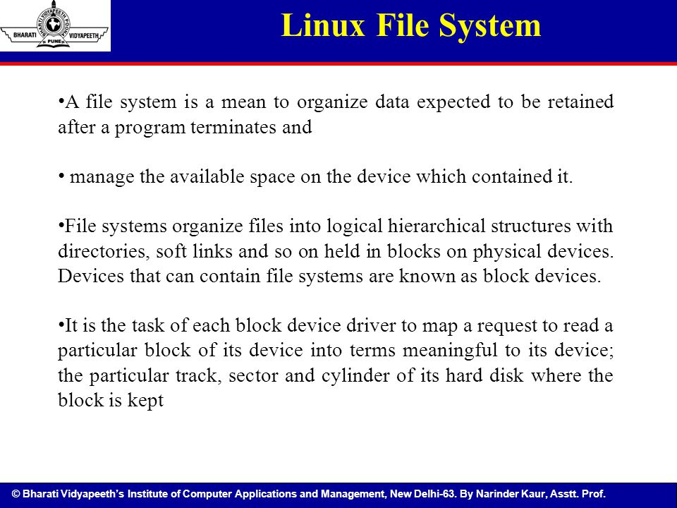Linux File System A file system is a mean to organize data expected to be retained after a program terminates and.