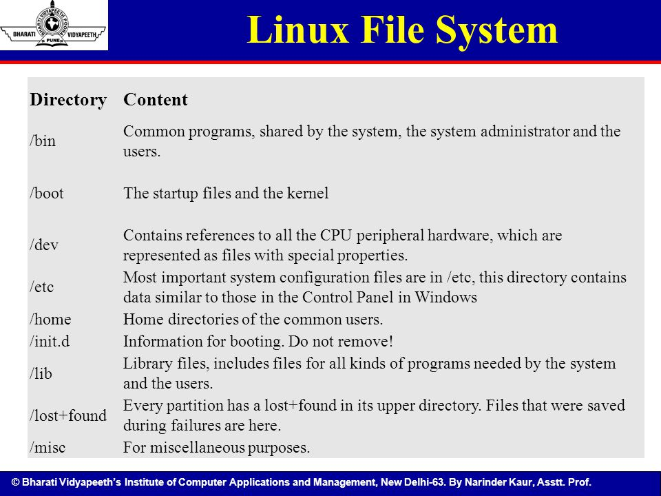 Linux File System Directory Content /bin