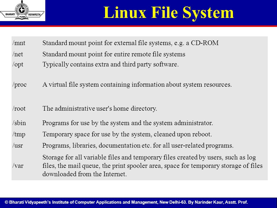 Linux File System /mnt. Standard mount point for external file systems, e.g. a CD-ROM. /net. Standard mount point for entire remote file systems.
