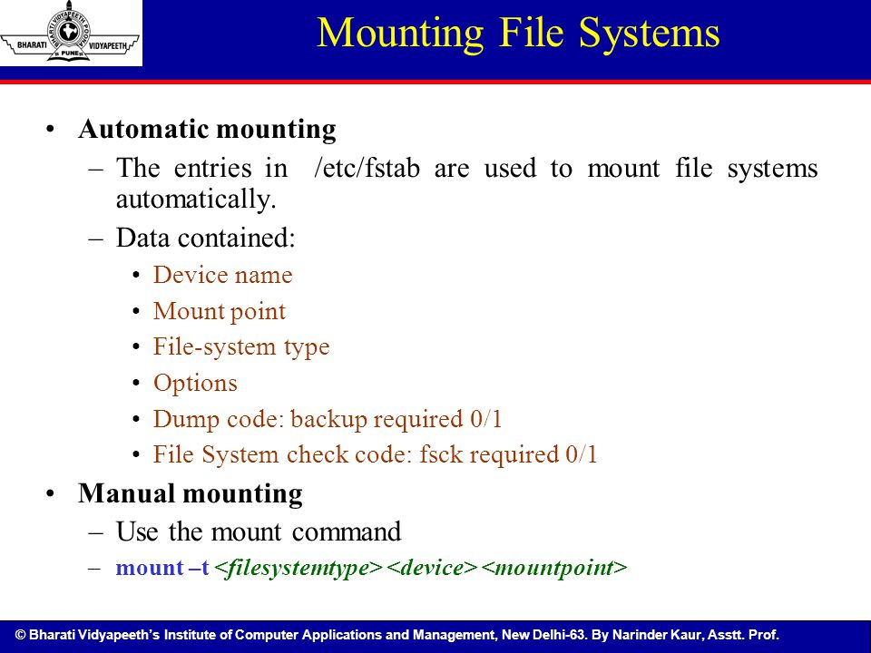 Mounting File Systems Automatic mounting