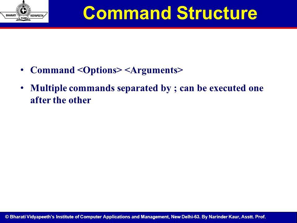 Command Structure Command <Options> <Arguments>