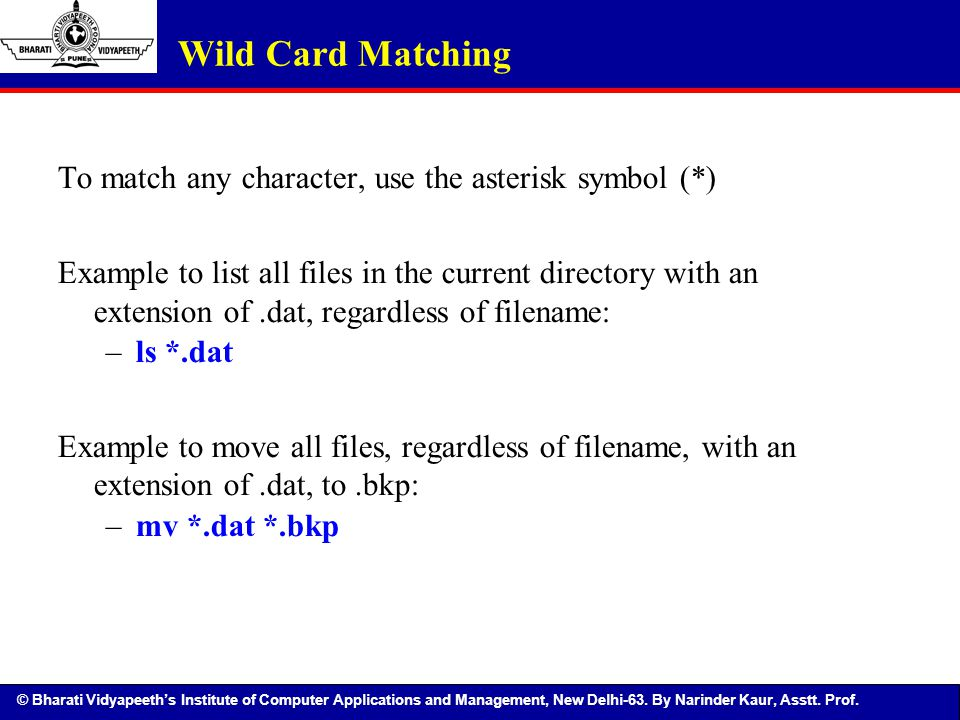 Wild Card Matching To match any character, use the asterisk symbol (*)