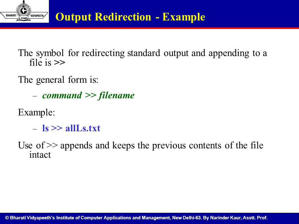 Output Redirection - Example
