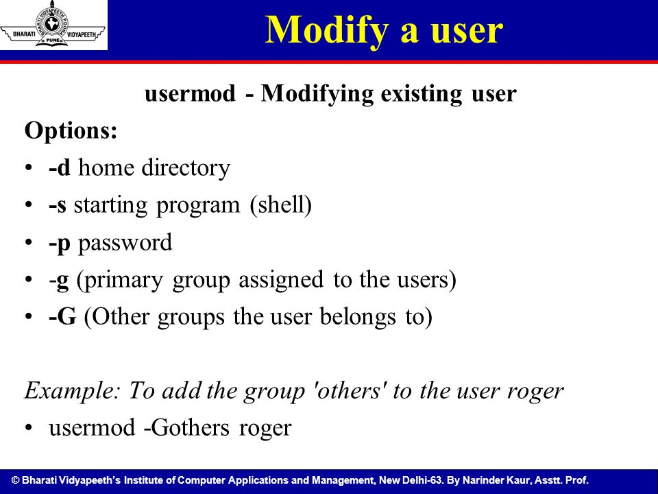 usermod - Modifying existing user