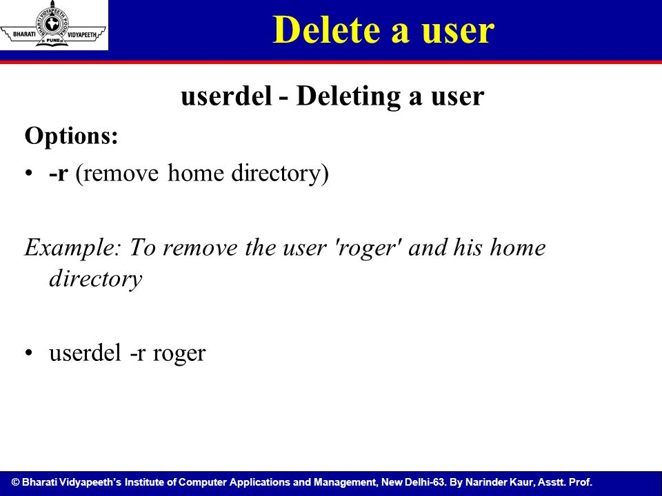 userdel - Deleting a user
