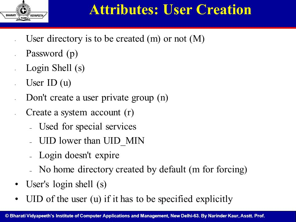 Attributes: User Creation