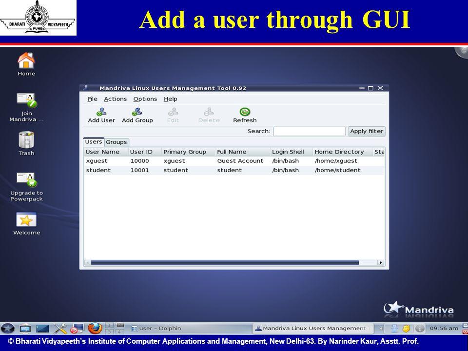 Add a user through GUI
