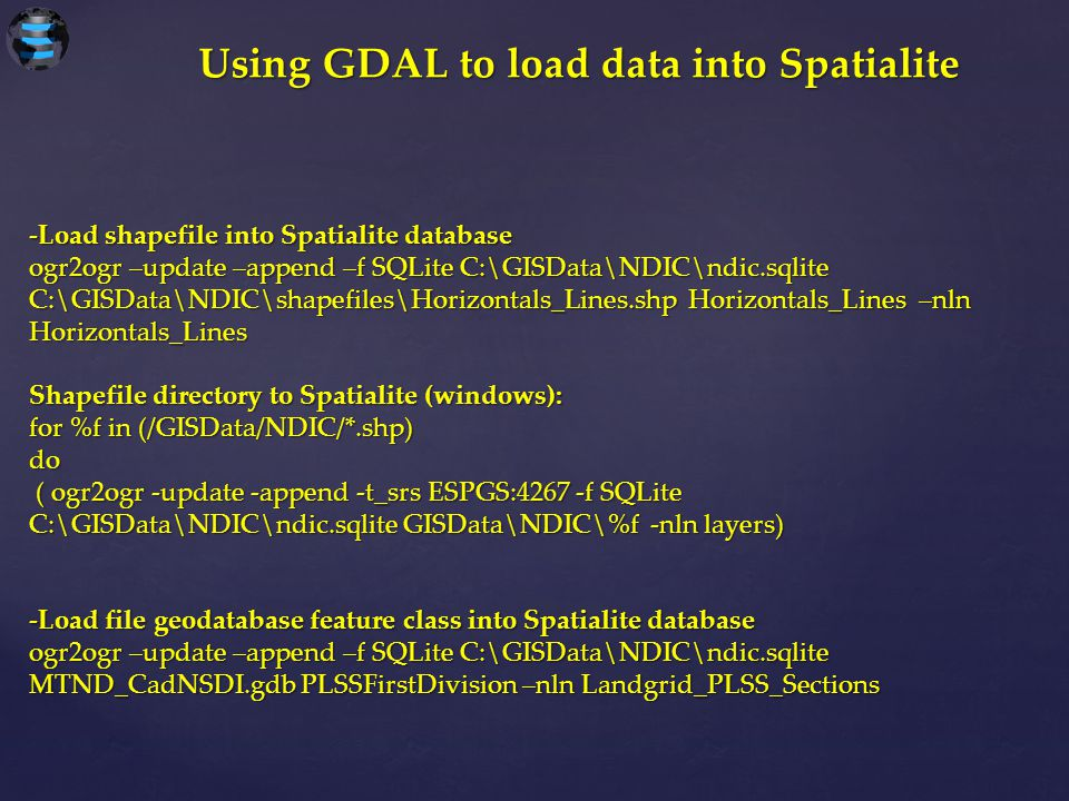 Using GDAL to load data into Spatialite
