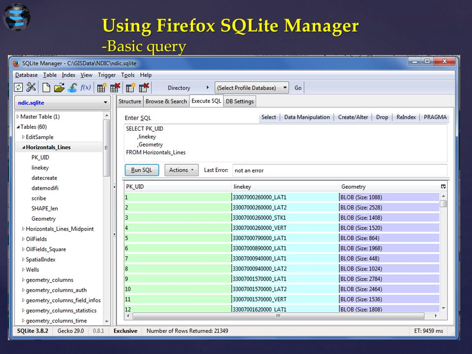 Using Firefox SQLite Manager