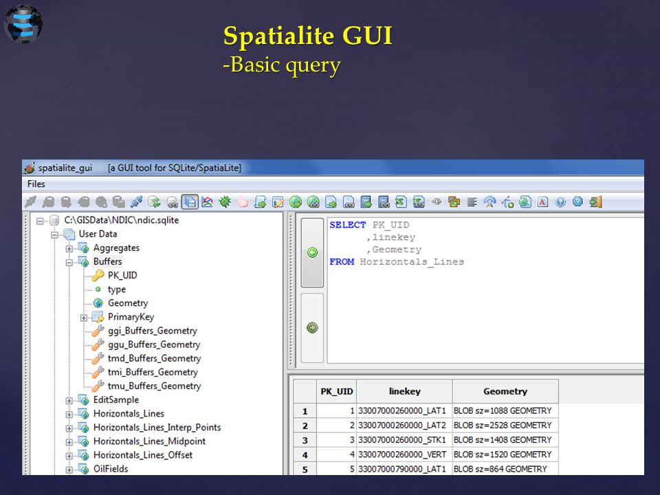 Spatialite GUI -Basic query