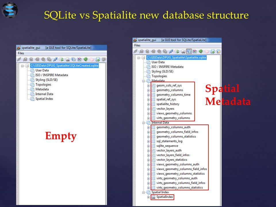 SQLite vs Spatialite new database structure