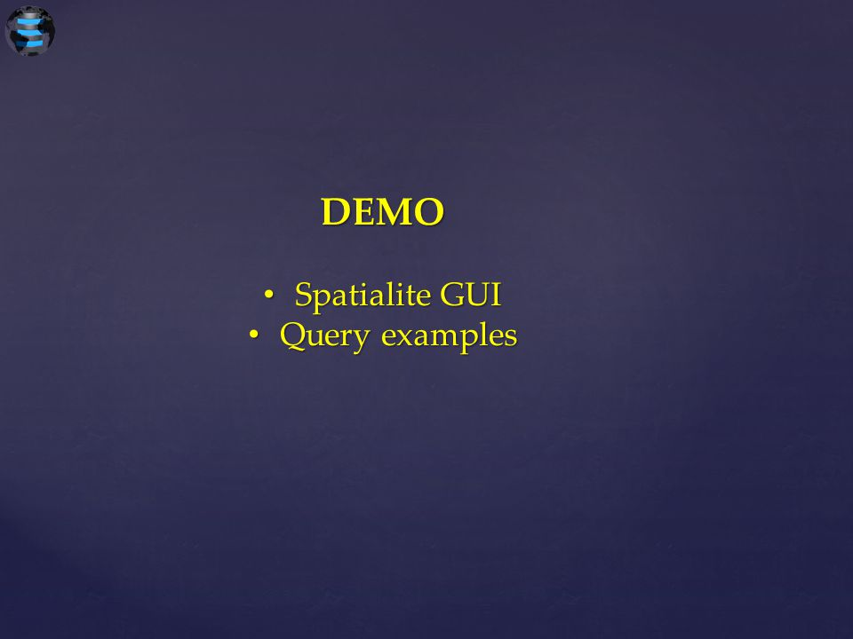 DEMO Spatialite GUI Query examples