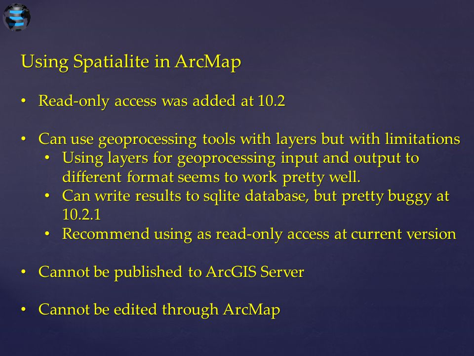 Using Spatialite in ArcMap