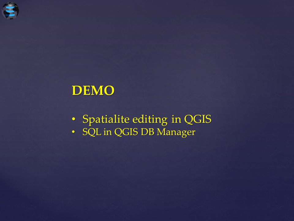 DEMO Spatialite editing in QGIS SQL in QGIS DB Manager