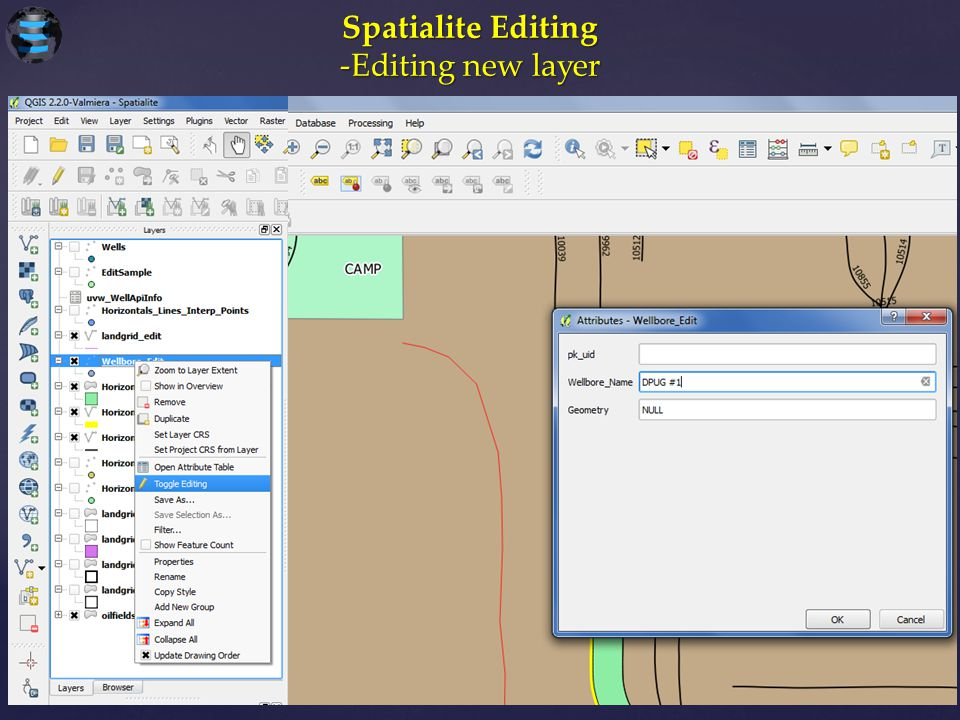 Spatialite Editing -Editing new layer