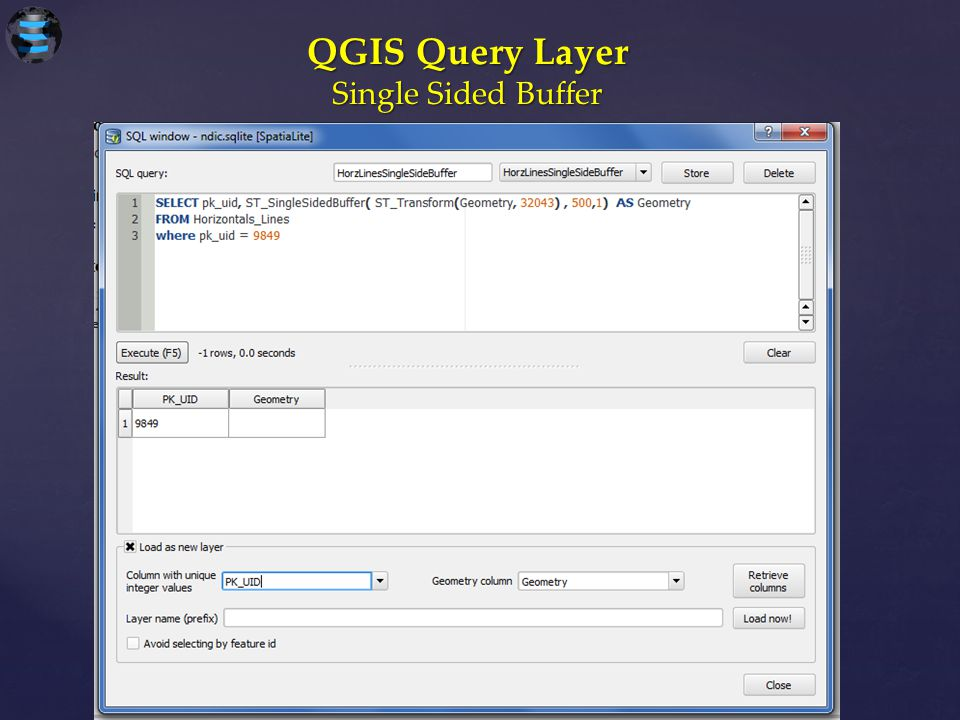 QGIS Query Layer Single Sided Buffer