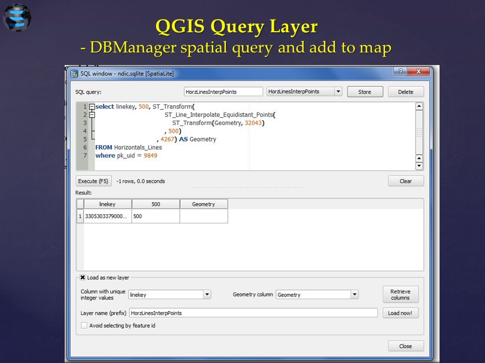 - DBManager spatial query and add to map