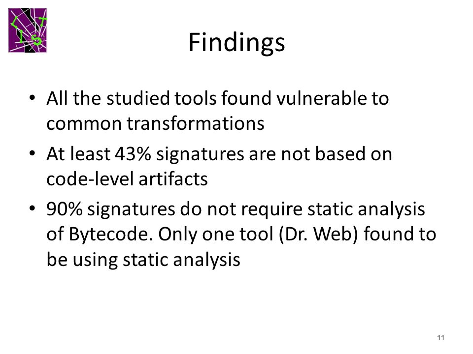 Findings All the studied tools found vulnerable to common transformations. At least 43% signatures are not based on code-level artifacts.
