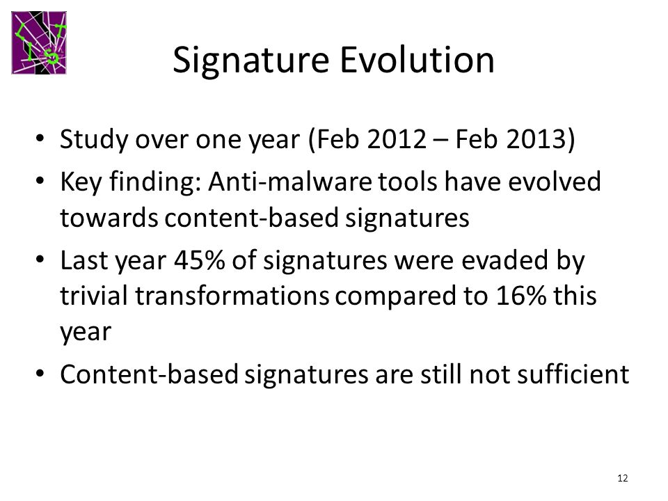 Signature Evolution Study over one year (Feb 2012 – Feb 2013)