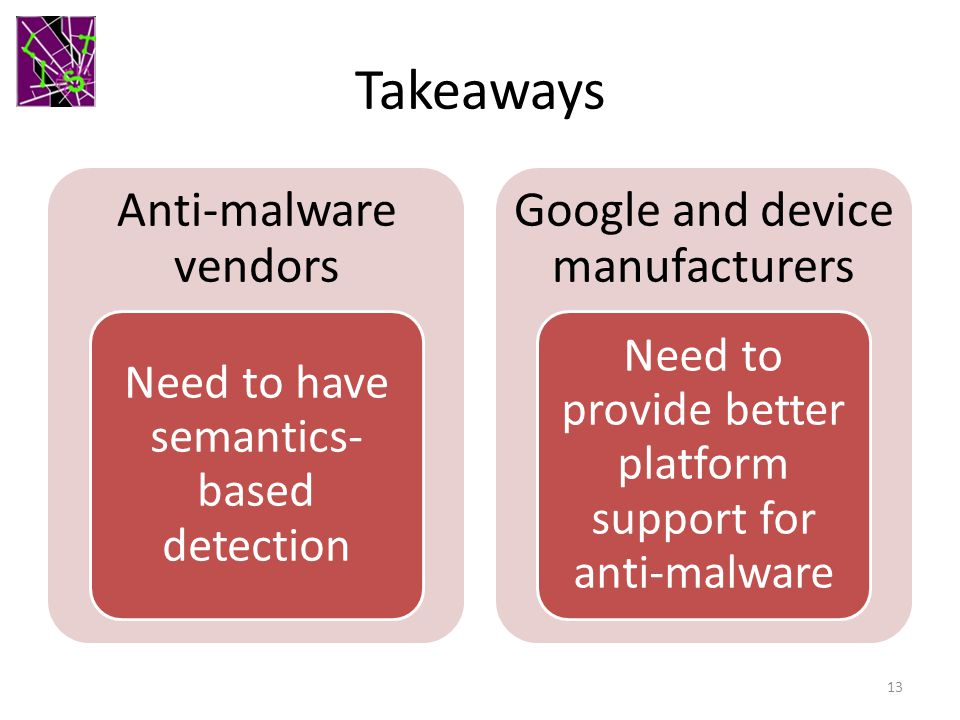 Takeaways Anti-malware vendors Google and device manufacturers