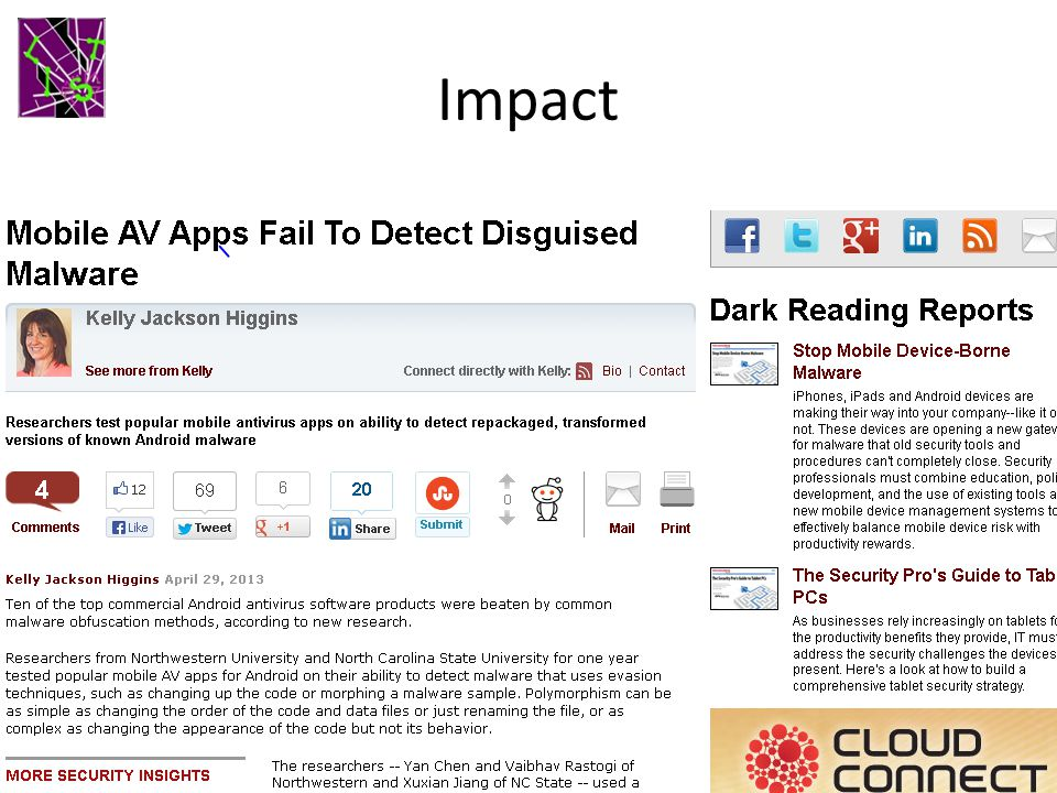 Impact The focus of a Dark Reading article on April 29