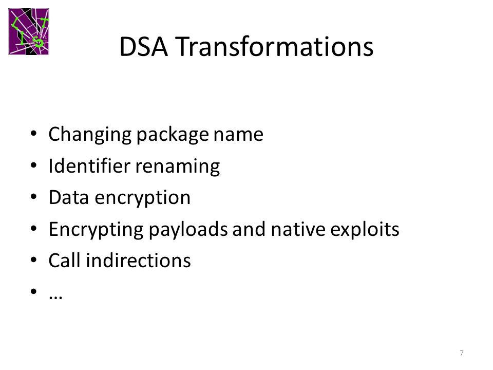 DSA Transformations Changing package name Identifier renaming