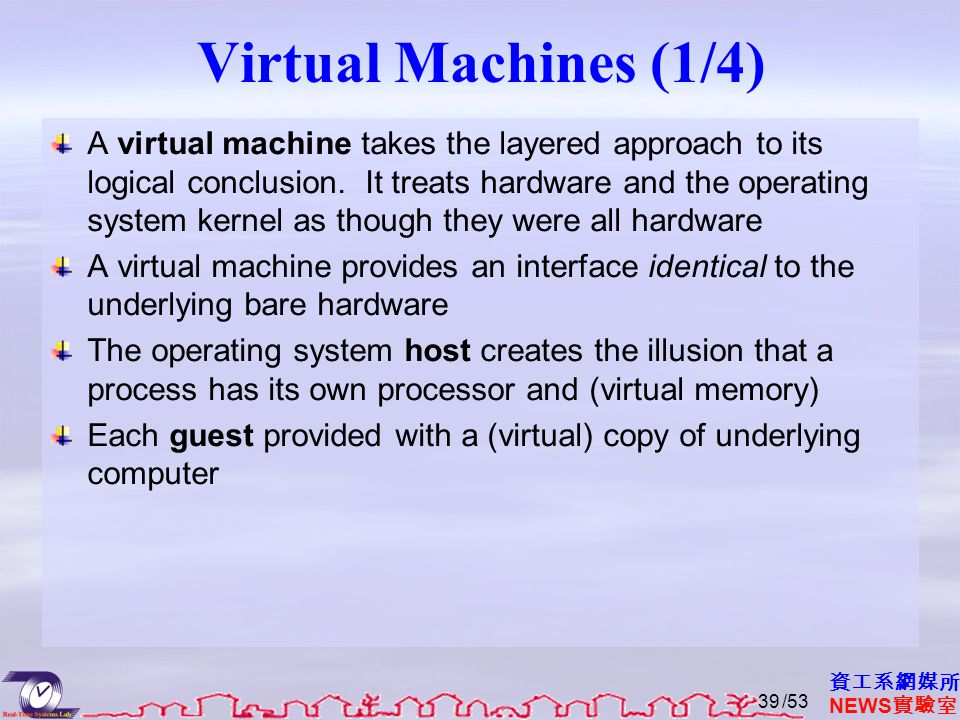 Virtual Machines (2/4) The resources of the physical computer are shared to create the virtual machines.
