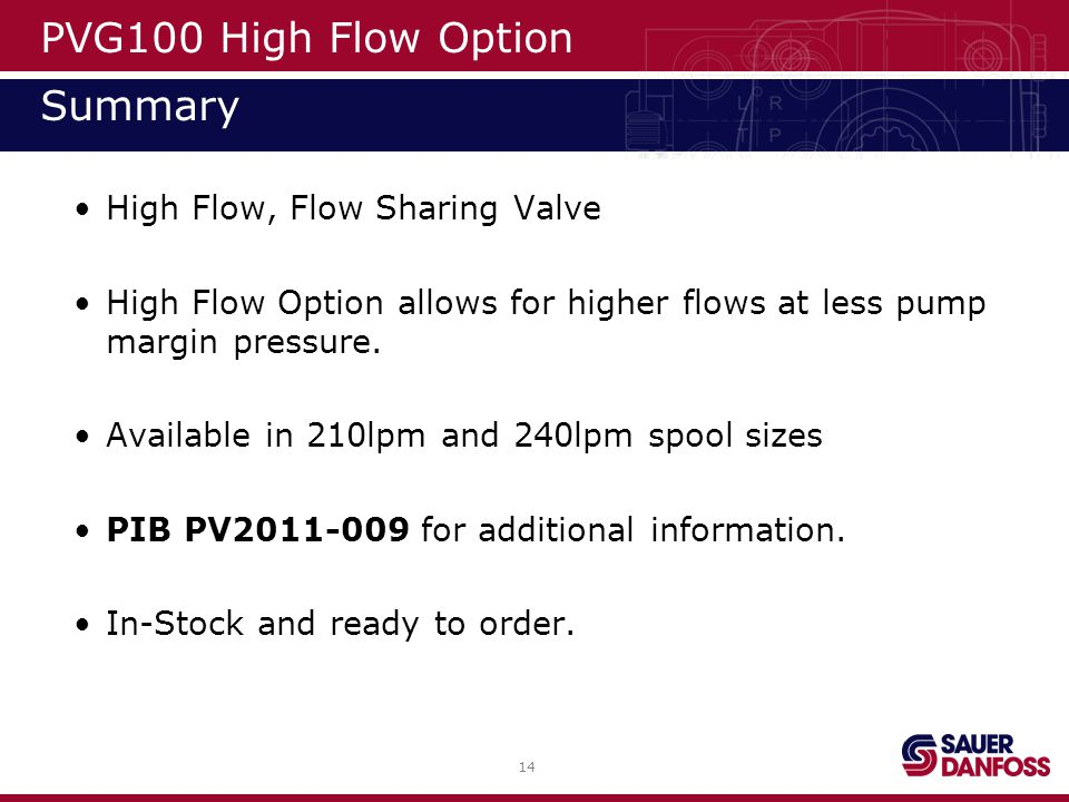 PVG100 High Flow Option Summary