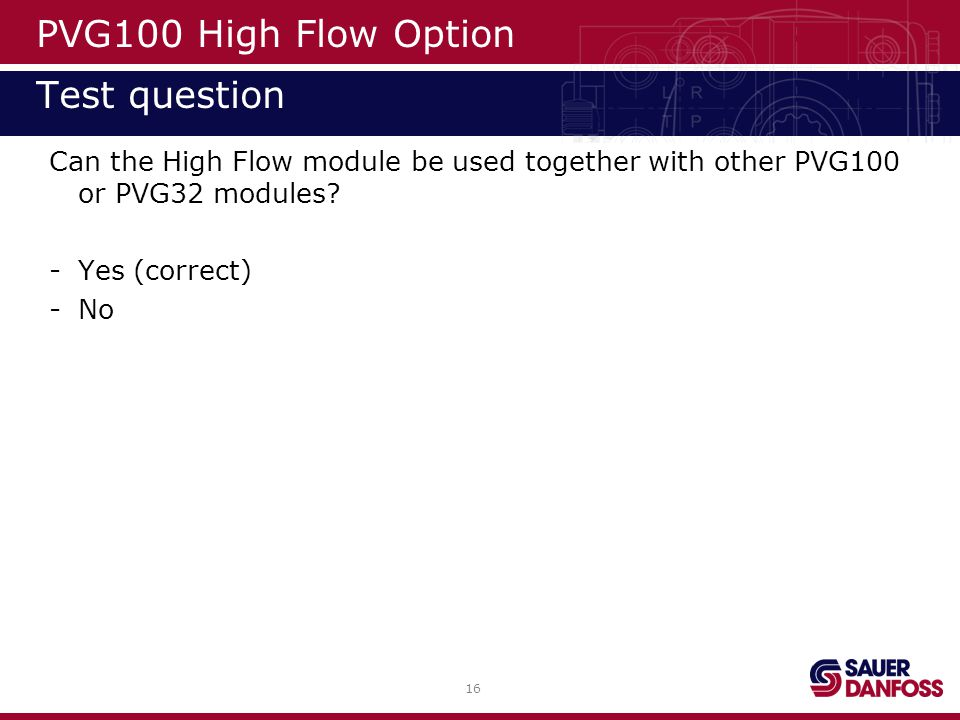 PVG100 High Flow Option Test question