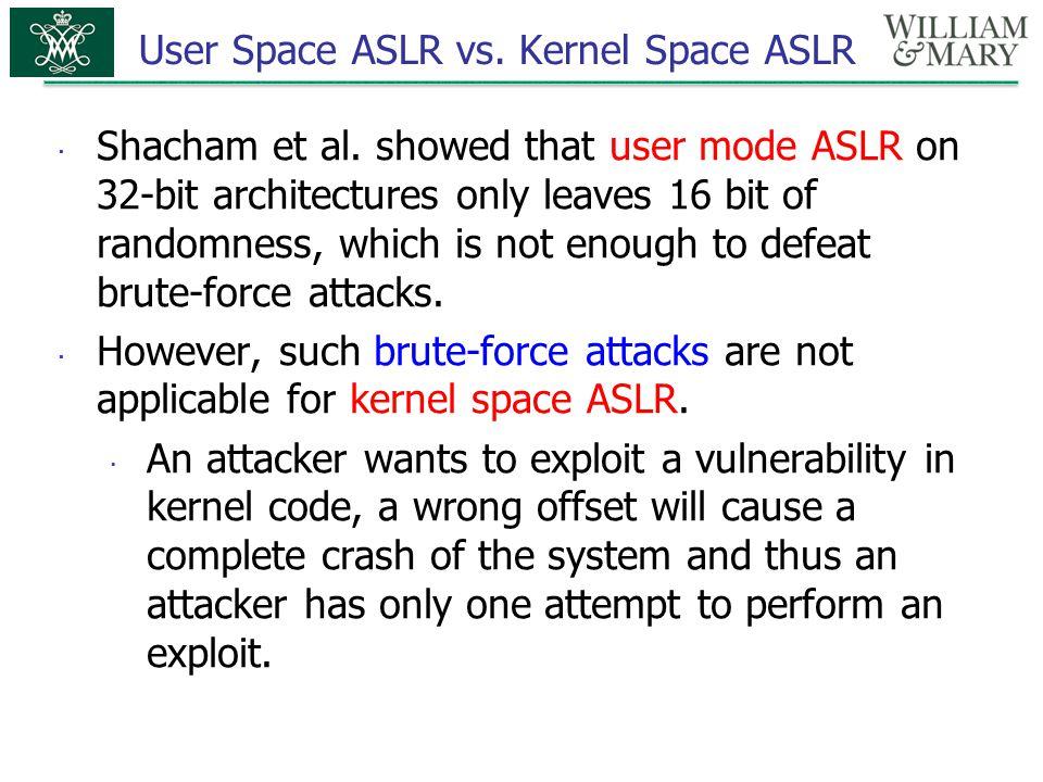 User Space ASLR vs. Kernel Space ASLR