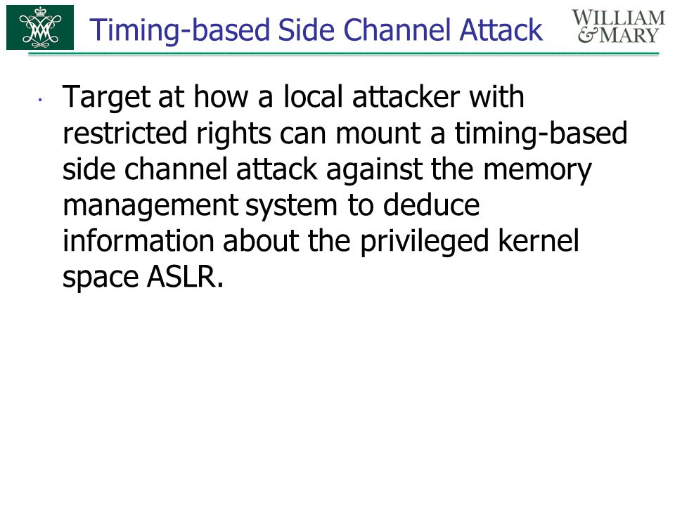 Timing-based Side Channel Attack