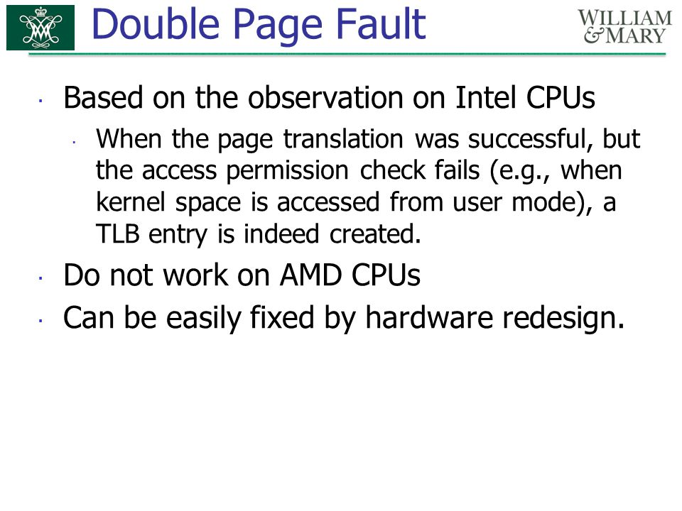 Double Page Fault Based on the observation on Intel CPUs