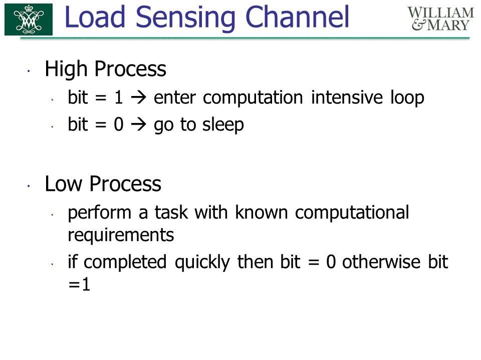 Load Sensing Channel High Process Low Process