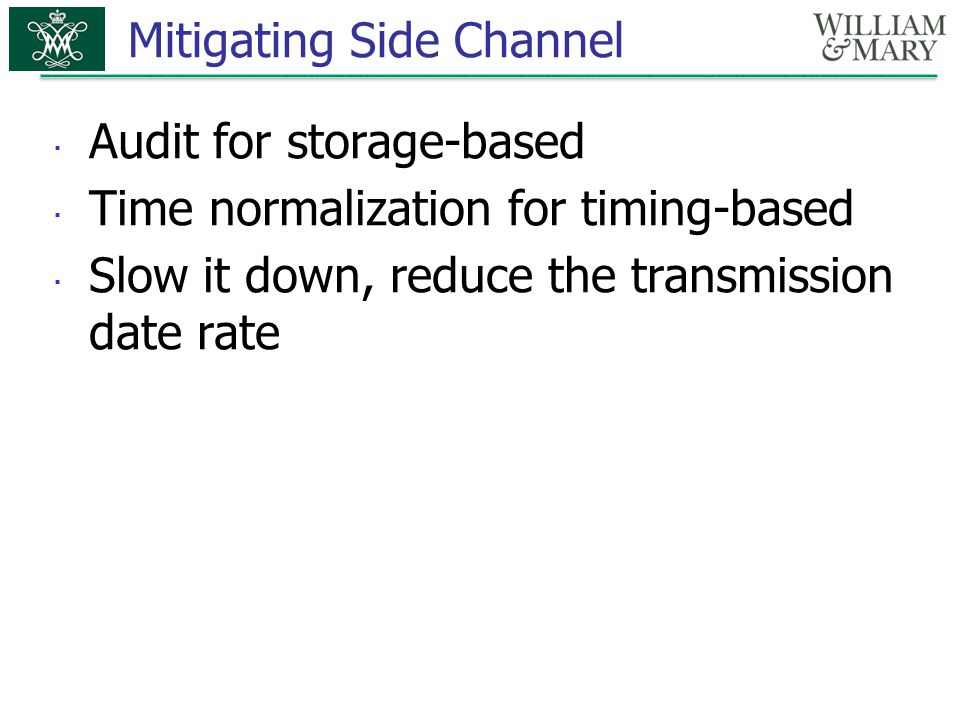 Mitigating Side Channel