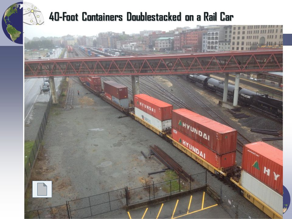 40-Foot Containers Doublestacked on a Rail Car