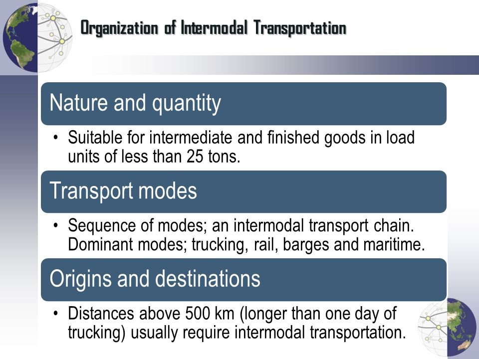 Organization of Intermodal Transportation
